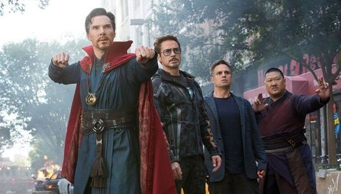 """This image released by Marvel Studios shows, from left, Benedict Cumberbatch, Robert Downey Jr., Mark Ruffalo and Benedict Wong in a scene from """"Avengers: Infinity War."""""""