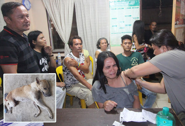Casuntingan, Mandaue City, Barangay Captain Oscar del Castillo (left) watches as dog bite victims are given anti-tetanus shots at the Barangay Health Center. The dog (inset) was allegedly showing symptoms of being rabid when it bit the victims. An examination has yet to be conducted on the dog after it died following its capture. Joy Torrejos