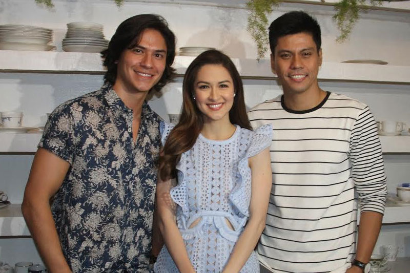 "Marian Rivera, center, with her ""Super Ma'am"" leading men Matthias Roads and Jerald Napoles Photos by Joy Torrejos"