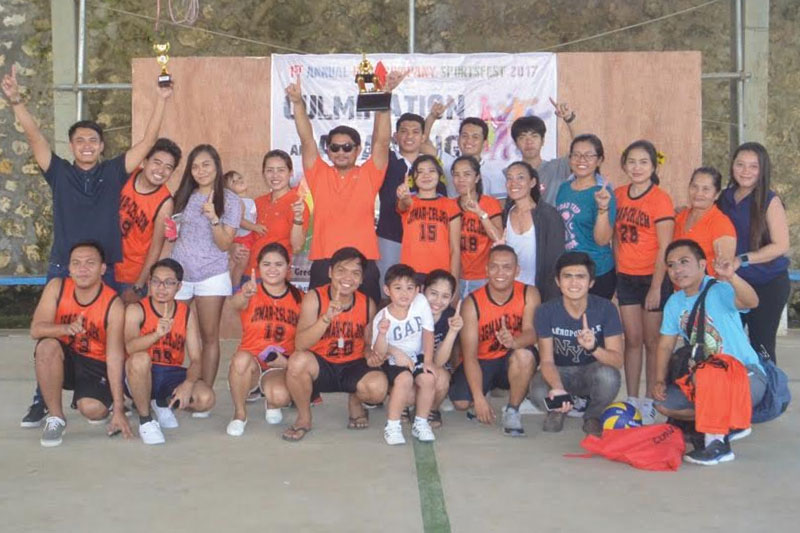 The players of Jemar Engineering Services and Celjem Construction & Development Corporation representing Team Orange led by Engr. Jerry Maratas celebrate after winning the overal title of the first ever Contractors Inter-Company Sportsfest.