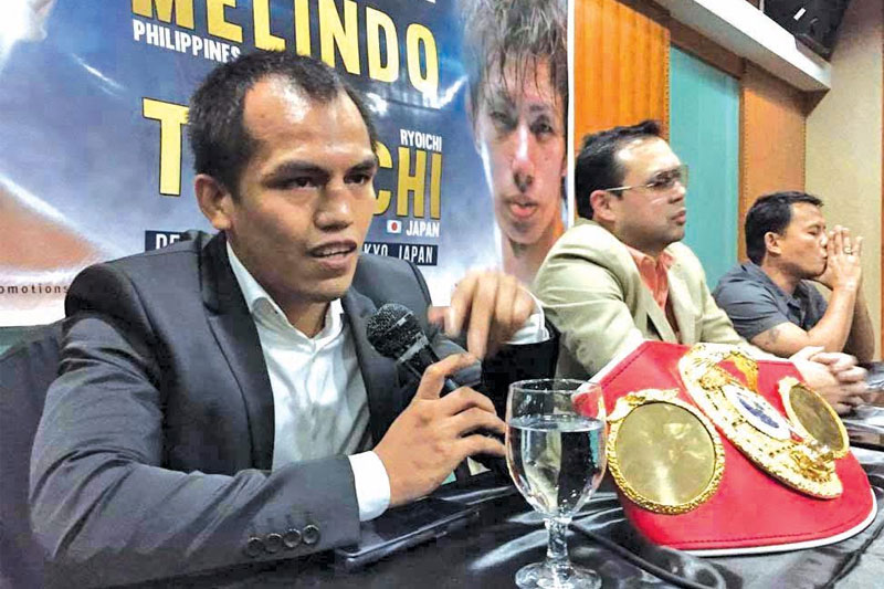 IBF junior flyweight champion Milan 'El Metodico' Melindo gestures during a press conference announcing his upcoming world title unification bout with WBA champion Ryoichi Taguchi of Japan yesterday at Casino Español. Paul Jun E. Rosaroso