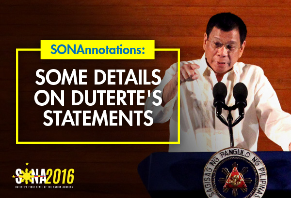 President Rodrigo Duterte delivered his first State of the Nation Address of his presidency last Monday. Here are some interesting details you need to know about some of his key points.