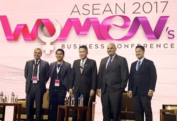 """ASEAN businessmen support deeper and stronger women engagement in entrepreneurship in a panel discussion billed, """"HE Stands for Gender Equality."""" Included in the all-male panel are (from left): Jonathan Allen Yabut, founder and managing director JY Consultancy and Ventures; Max Loh, managing partner, ASEAN and Singapore Ernst and Young; Christopher Buono, managing director, UPS Philippines; Roman Militsyn, president, Philip Morris Fortune Tobacco Corp.; and moderated by lawyer Adel Tamano, vice president for public affairs and communication of Coca-Cola Philippines."""