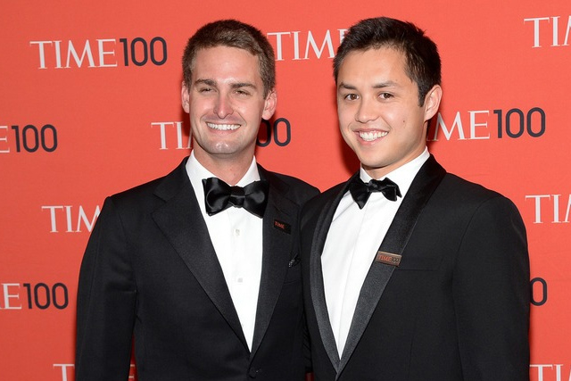 Photo of Evan Spiegel & his friend celebrity  Bobby Murphy -