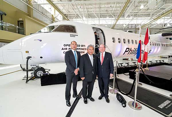 Photo shows (from left) Joseph Brian Tan, PAL vice president corporate finance and aircraft asset management, PAL president & COO Jaime Bautista and Ian Reid, senior financial advisor at Bombardier's delivery ceremony for PAL's Q400. Photo courtesy of Bombardier