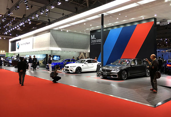 The BMW M exhibit had a magnificent M760Li on display as well as a white M2 and blue M4.