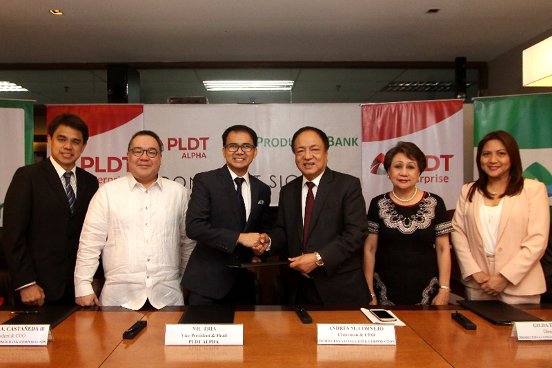 (From left) PLDT VP and head of Corporate Relationship Management Chito Franco, PSBC President and COO Manuel Castañeda III, PLDT VP and Head of PLDT ALPHA Vic Tria, PSBC Chairman and CEO Andres Cornejo, PSBC Director Gilda Pico, and PSBC Vice Chairman Sandra Mendoza. PLDT/Released