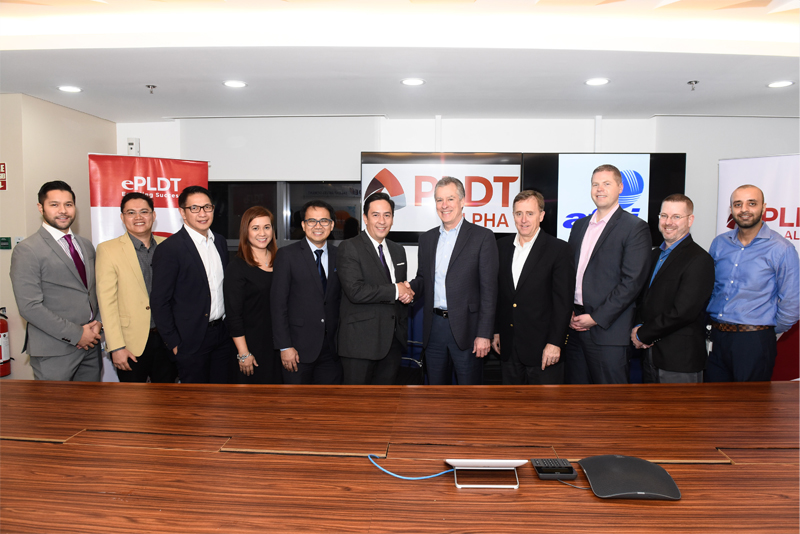 Present at the contract signing were (from left) PLDT VP and Head of Corporate Relationship Management Victor Aliwalas, Enterprise Strategic Solutions Senior Solutions Architect Mike Nolasco, PLDT SG Pte. Ltd PLDT Global Corp. Asia Pacific Regional Sales Head Jeff Mendoza, PLDT Corporate Relationship Manager Cat Arellano, VP and Head of PLDT ALPHA Vic Tria, SVP and Head of PLDT and Smart Enterprise Groups Jovy Hernandez, Afni President and CEO Ron Greene, Afni Philippines President Doug Jones, Afni Vice President of Information Technology and Chief Information Officer Mike Schwermin, Afni Philippines Country Manager Ken Hahn and Afni Sr. Director of Operations Khalid Khursheed. PLDT/Released