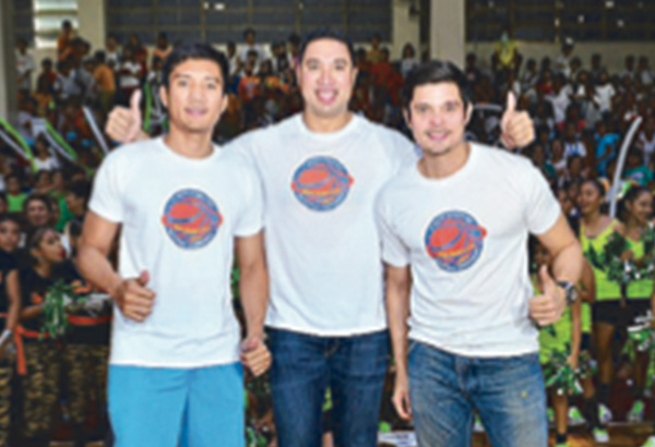 From left: James Yap, San Juan Vice Mayor Francis Zamora and Dingdong ...