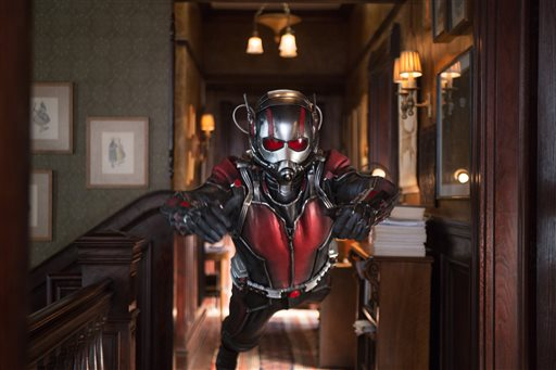 "Paul Rudd as Scott Lang/Ant-Man in a scene from Marvel's ""Ant-Man."" The film releases in the U.S. on July 17, 2015. Zade Rosenthal/Disney/Marvel via AP"