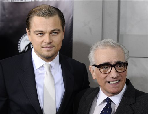 "This Feb. 17, 2010, file photo shows actor Leonardo DiCaprio, left, and director Martin Scorsese attending the premiere of ""Shutter Island"" at The Ziegfeld Theatre, in New York. AP Photo/Peter Kramer, File"