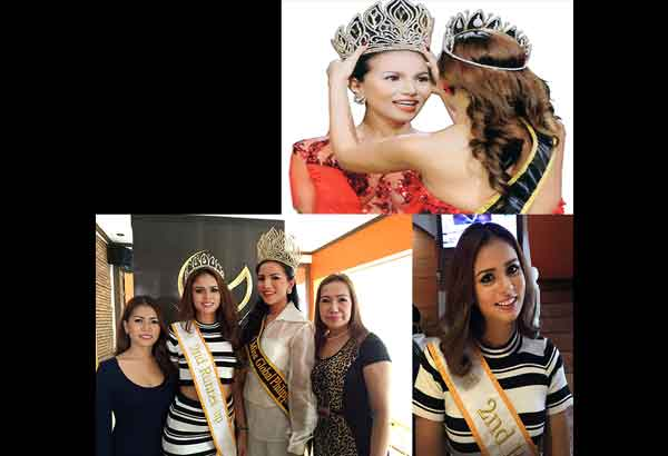 Top: Candice Ramos of Vigan City was recently crowned 2015 Miss Global Philippines. Above: With Pauline Sofia Laping (leftmost) and her mom Rizza Lao Laping (rightmost) who are behind the two-year-old pageant, with Catherine Marie Saab Almirante (second from left, also shown at far right), last year's winner who placed second runner-up in the 2014 Miss Global International contest.