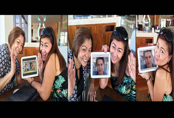 From left: Journalist Gina Tabonares-Reilly (right) and marketing director Teri Flores flash their sweetest AlDub smile, with Gina posing lovingly beside Alden's image in a TV grab — Photos by RICKY LO