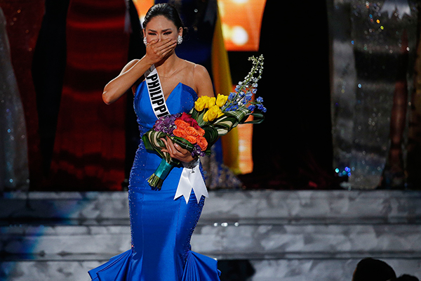 Miss Philippines Pia Alonzo Wurtzbach reacts as she was announced as the new Miss Universe at the Miss Universe pageant on Sunday, Dec. 20, 2015, in Las Vegas. Miss Colombia Ariadna Gutierrez was incorrectly named as Miss Universe before her crown was taken away. AP Photo/John Locher
