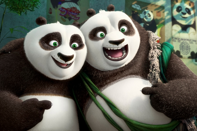 "This image released by DreamWorks Animation shows characters Po, voiced by Jack Black, left, and his long-lost panda father Li, voiced by Bryan Cranston, in a scene from ""Kung Fu Panda 3."" DreamWorks Animation via AP"