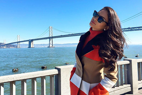 """Sporting orange for the Denver Broncos! Bye Bye San Francisco; fell in love with this city,"" Miss Universe Pia Wurtzbach said. Facebook/Miss Universe"