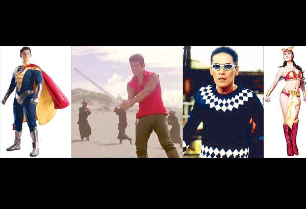 Which one will make it, if ever? From left: Captain Barbell (played by Richard Gutierrez), Ang Panday (FPJ), Lastik Man (Vic Sotto) or Darna (Marian Rivera)?