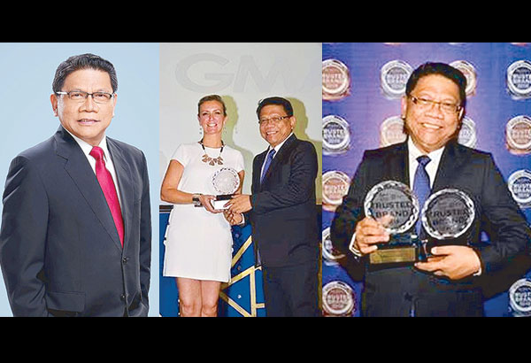Mike Enriquez has just added two more awards to his growing collection, one from the City of Manila as one of the Outstanding Manilans and (rightmost) the other as Reader's Digest's Most Trusted Brand. Center: Mike receiving another award, the Gold Award for GMA Network, from Sheron White, Reader's Digest Group Advertising Director for Asia Pacific.