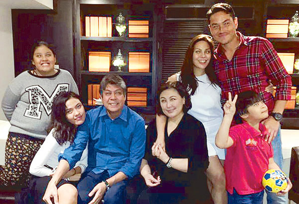 This family picture from Sharon Cuneta's Instagram was taken at the recent birthday dinner for the family patriarch Sen. Kiko Pangilinan, with KC Concepcion and boyfriend Aly Borromeo (standing, right) and KC's siblings (from left) Miel, Frankie and Miguel.