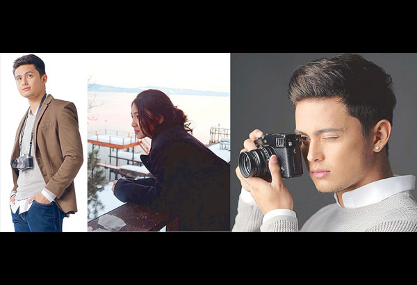 James Reid considers this shot of his girlfriend Nadine Lustre (center), presumed to have been taken at sunset in Lake Tahoe some two years ago, as one of his favorite shots. He now takes pictures with a Fuji camera (left) which he is endorsing.