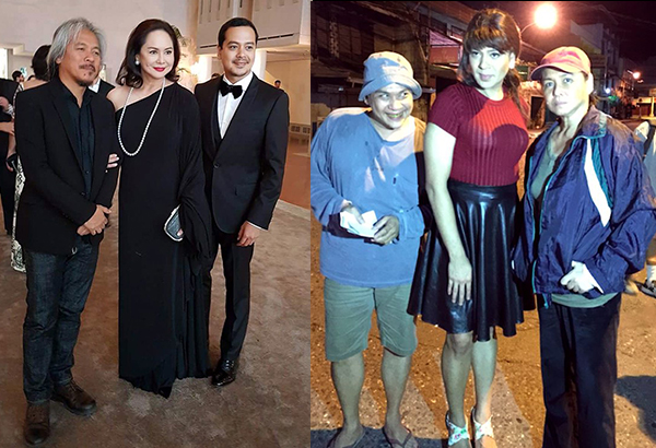 (Right) Lav, Charo and John Lloyd Cruz during the movie's screening. (Left) Charo and John Lloyd as the characters in the movie (she as ex-convict and he as an epileptic transgender), with Nonie Buencamino (left) as a balut vendor… and (below) more of John Lloyd's character.