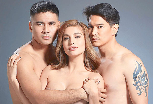 With her change of image, Nathalie has dropped the name Princess Snell (actually her real name) for one that implies, well, 'bold and daring' which she does in Siphayo, directed by Joel Lamangan, in which Nathalie plays a nurse shared by three men — Allan Paule as the father, and (in photo with Nathalie) Joem Bascon (left) and Luis Alandy (right) as the sons.