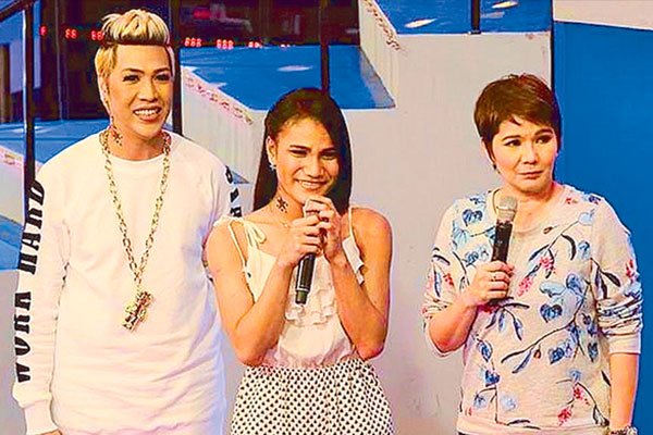 Vice Ganda and Amy Perez as hosts during the pilot episode of the revived Tawag ng Tanghalan early this year