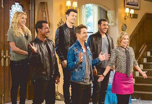 Jodie Sweetin and Andrea Barber with the New Kids On The Block in a scene from Netflix's Fuller House Season 2, which is premiering globally tomorrow, Dec. 9