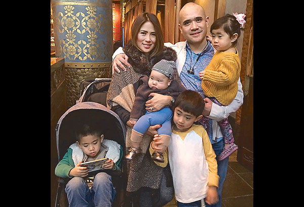 Krista Ranillo and husband Niño Lim with their children Nate, Nolan, Natalie and Archibald at the posh Rock Sugar restaurant in Century City where they hosted a welcome lunch for visiting friend.