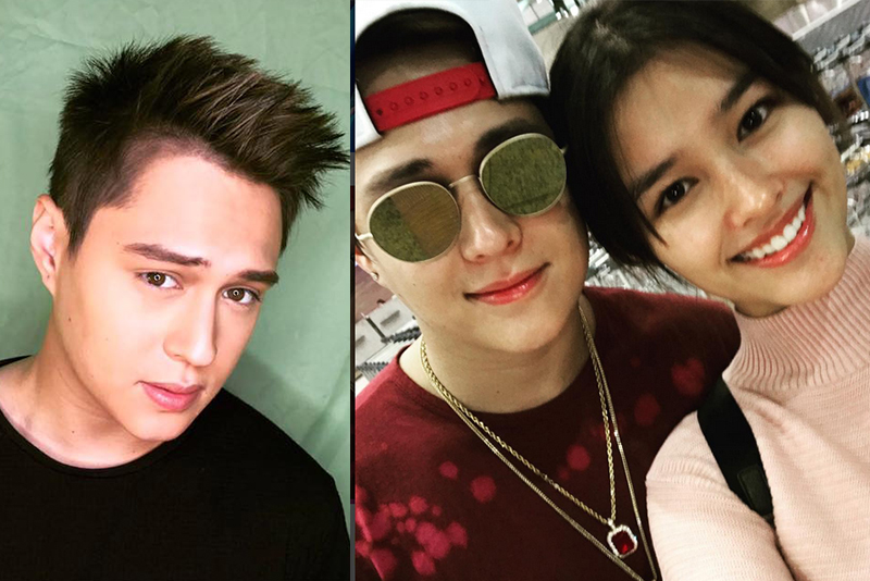 "From left: Actor Enrique Gil sporting his new 'do; Enrique with real-life girlfriend and ""My Ex and Whys"" co-star Liza Soberano Instagram/Enrique Gil"
