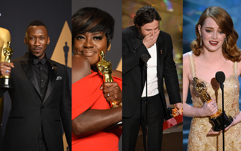 Ebony and Ivory: Best Supporting Actor Mahershala Ali and Best Supporting Actress Viola Davis; Best Actor Casey Affleck and Best Actress Emma Stone Associated Press