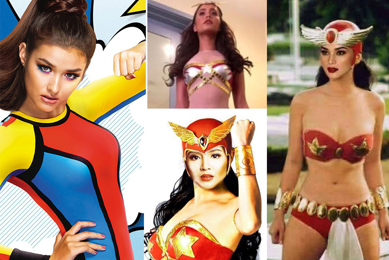 Who will be the next Darna? From left: Liza Soberano, Nadine Lustre (bottom, center), Jessy Mendiola (top, center), and Pia Wurtzbach