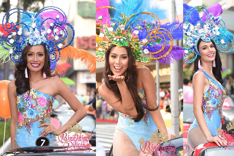 The 40 candidates of Binibining Pilipinas 2017 halted all street activities inside the Araneta Center in Cubao, Quezon City last Saturday, April 22, with their sexy festival-themed swimwear. Binibining Pilipinas/File
