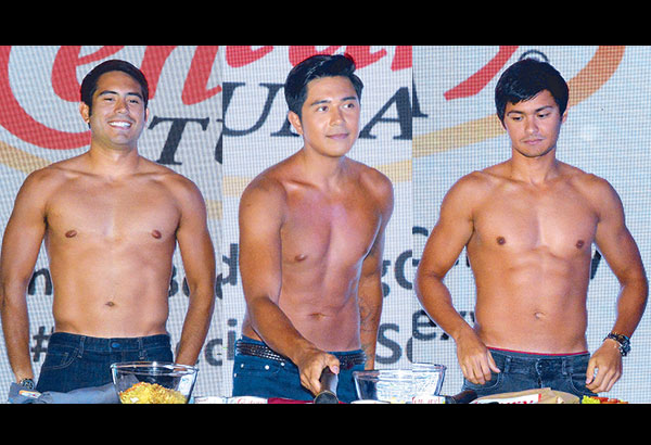 From left:Gerald Anderson, Paulo Avelino and Matteo Guidicelli during My Recipe to Sexy presentation held at Makati Shangri-La.