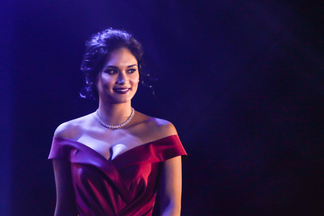 In this April 24, 2017 photo, Miss Universe 2015 Pia Wurtzbach attends her latest mobile phone endorsement for Huawei Philippines. Philstar.com / EC Toledo