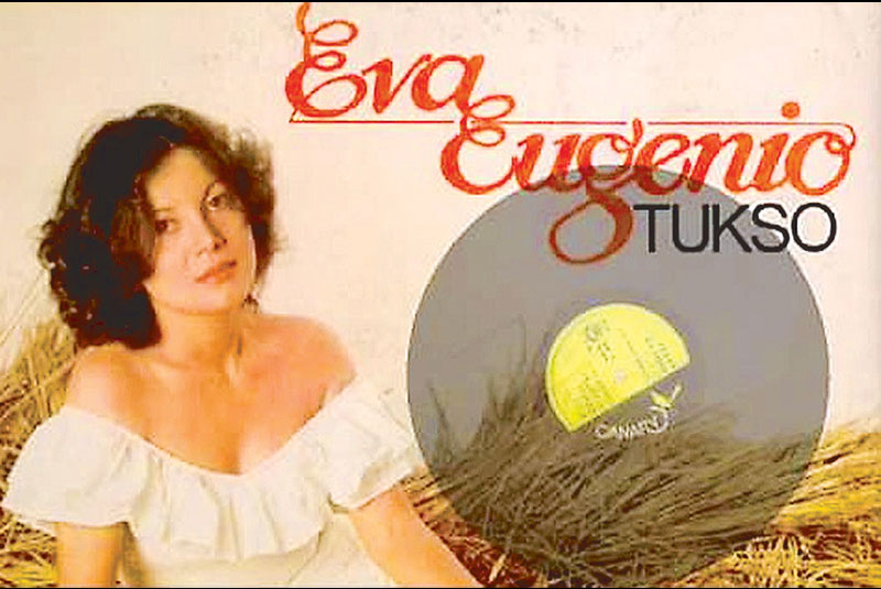 Eva Eugenio on the cover of the album carrying her enduring hit song Tukso.