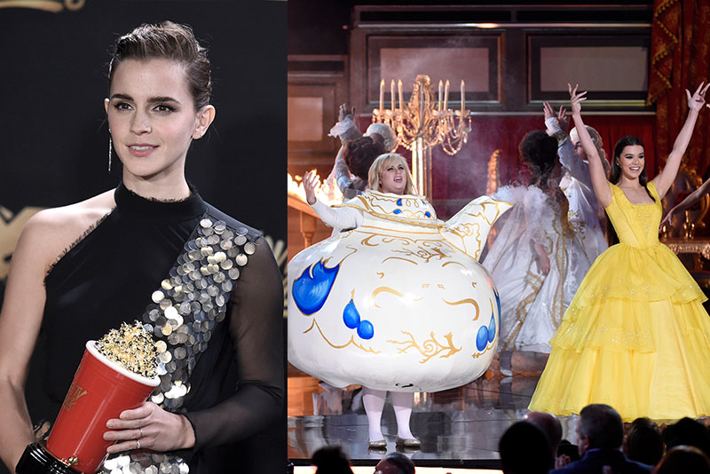"Left: Emma Watson poses in the press room with the award for best actor in a movie for ""Beauty and the Beast"" at the MTV Movie and TV Awards at the Shrine Auditorium on Sunday, May 7, 2017, in Los Angeles. (Photo by Richard Shotwell/Invision/AP) Right: Rebel Wilson, left, and Hailee Steinfeld perform at the MTV Movie and TV Awards at the Shrine Auditorium on Sunday, May 7, 2017, in Los Angeles. (Photo by Chris Pizzello/Invision/AP)"