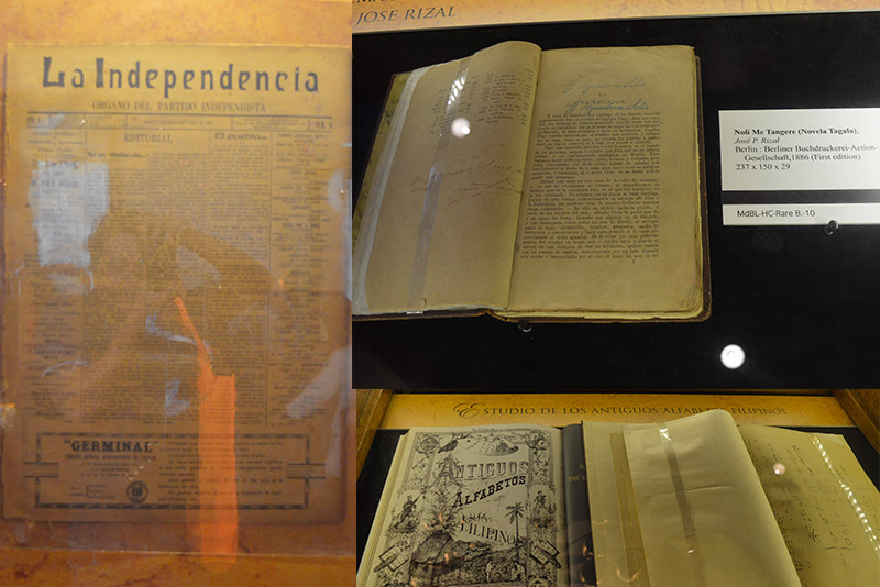 "Original copies of Jose Rizal's ""Mi Ultimo Adios"" and ""Noli Me Tangere,"" Pope Leo the Great's ""Opera Omnia,"" Apolinario Mabini's"