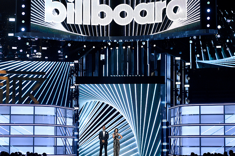 Hosts Ludacris, left, and Vanessa Hudgens speak at the Billboard Music Awards at the T-Mobile Arena on Sunday, May 21, 2017, in Las Vegas. Invision/AP/Chris Pizzello