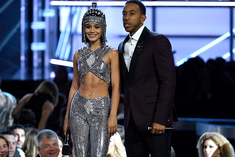 Hosts Vanessa Hudgens, left, and Ludacris, speak at the Billboard Music Awards at the T-Mobile Arena on Sunday, May 21, 2017, in Las Vegas. Invision/AP/Chris Pizzello