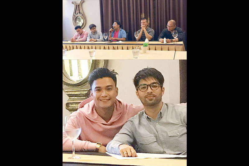 Edgar 'EA' Allan Guzman (below, left) and Joross Gamboa star as gay friends in T-Rex Productions' Deadma Walking. Above: With (from left) director Julius Alfonso, scriptwriter Eric Cabahug and T-Rex producer Rex Tiri.