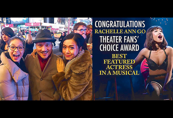 Rachelle Ann Go (right) garnered the most number of votes online to win as Best Featured Actress in a Musical at the 2017 Theater Fans' Choice Awards for her performance as Gigi Van Tranh in Miss Saigon. With her are co-actors Eva Noblezada and Jon Jon Briones.
