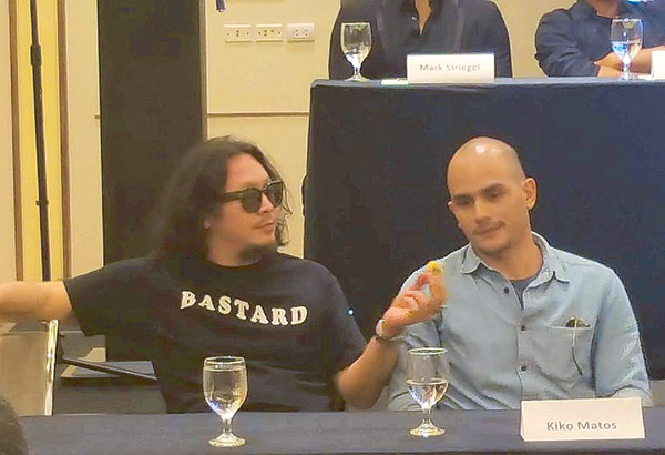Kiko Matos (right) and Baron Geisler made a scene-stealing 'fight' during a media gathering for Universal Reality Combat Championship (URCC) event to happen on Aug. 12 at the Araneta Coliseum