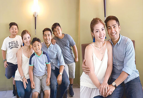Top: Carlo Muñoz and wife Enid Reyes with their children Joshua, Isaiah and Caleb pose for a family picture during a lunch date with The STAR.