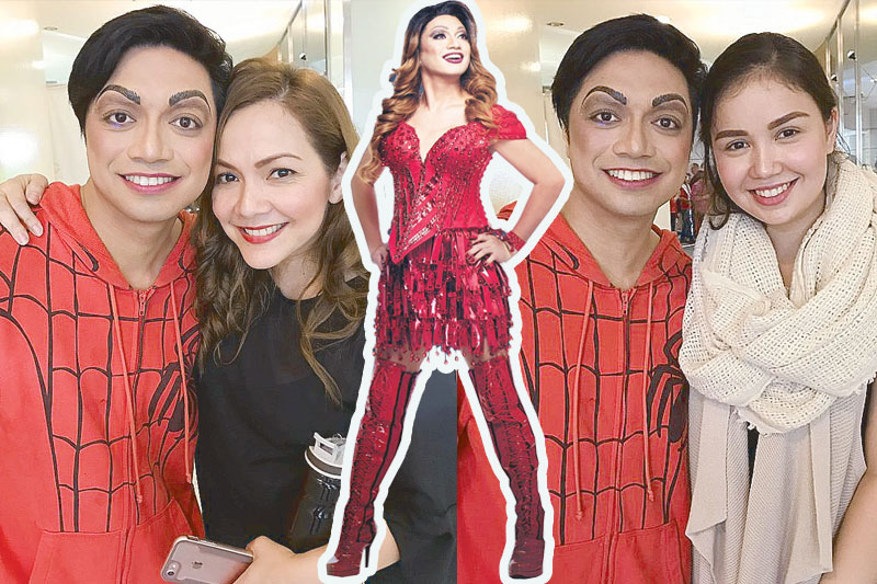 Nyoy Volante (center) as a livewire Drag Queen Lola in Kinky Boots, the hottest musical in town, and with co-star Christine Flores (left) and his wife Mikkie Bradshaw (right) who does Nyoy's make-up. (For tickets, call Ticketworld at 891-9999)