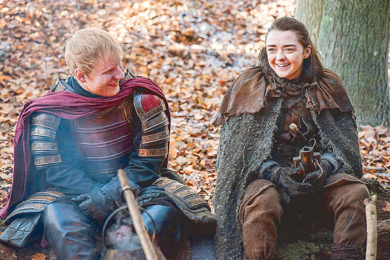 Sheeran (left) and Maisie Williams in a scene from the TV series' new season—AP photo