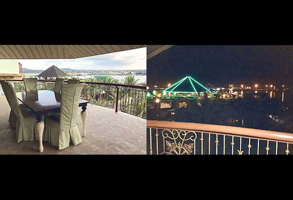 At daytime (left) and nighttime (right), you get a panoramic view from the first-class room at the Bohol Tropics Resort, including the resort's café (featuring a singer during the Happy Hour) with a salakot-shaped roof. On a clear day, you can even get a glimpse of Cebu.— Photos by RAOUL TIDALGO & EDMUND SILVESTRE