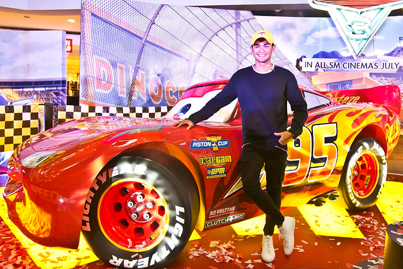 ActorMatteoGuidicelliwith a life-size replica of Lightning McQueen Disney, Pixar/Released