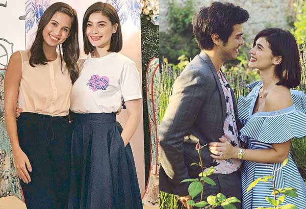 Far left: Anne Curtis with sister Jasmine Curtis Smith who hosted the launch of Anne's Dream Machine Platform. Left: Anne with fiancé Erwin Heussaff.