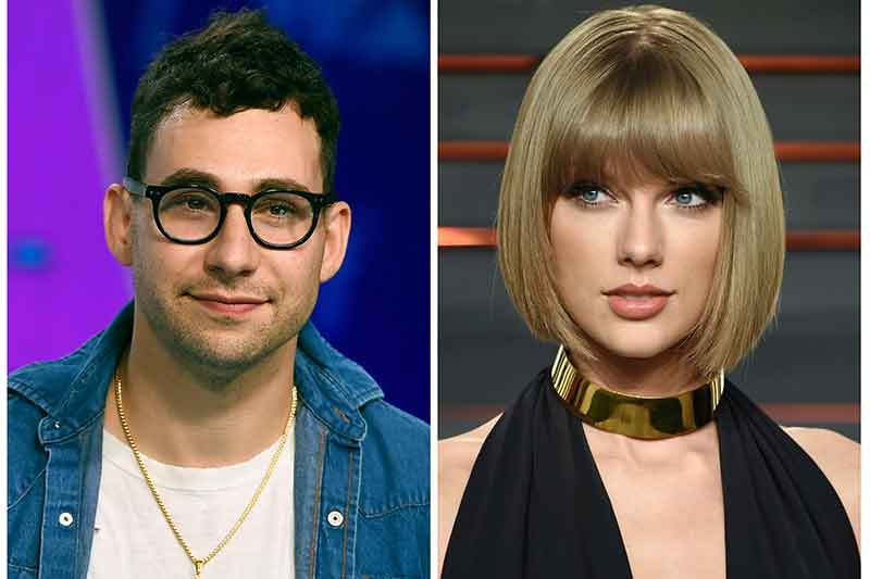 """In this combination photo, music producer Jack Antonoff appears at the MTV Video Music Awards on Aug. 27, 2017, left, and Taylor Swift attends the Vanity Fair Fair Oscar Party in Beverly Hills, Calif. on Feb. 28, 2016. Antonoff is keeping quiet about who Swift is singing about in her new song, """"Look What You Made Me Do."""" Antonoff co-wrote and co-produced the song that is rumored to be about Kanye West. Photos by Jordan Strauss, left, and Evan Agostini/Invision/AP, File"""